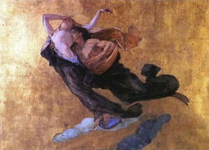 Mosè Bianchi Paolo e Francesca (1877) Acquerello e oro su carta Galleria GAM di Milano